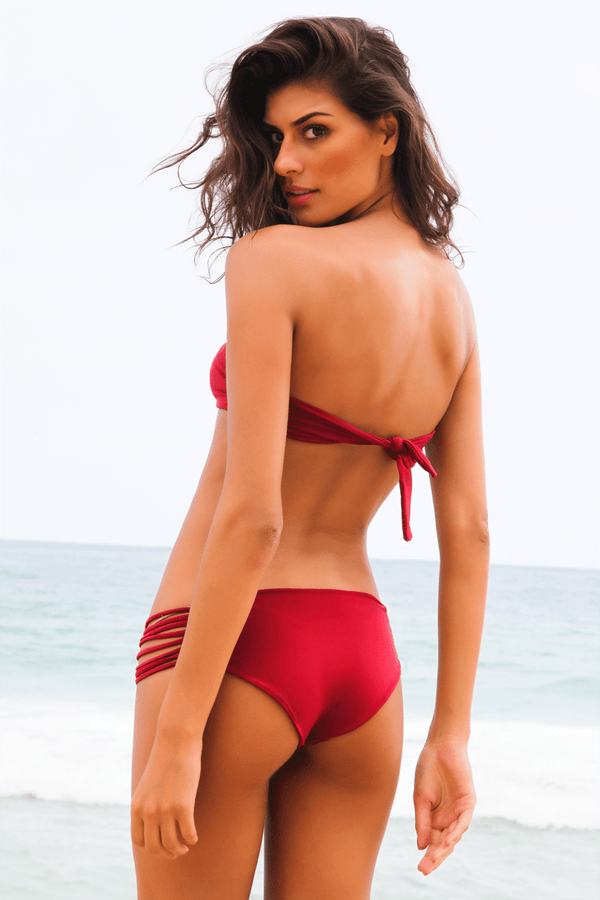 bandeau bikini top red back