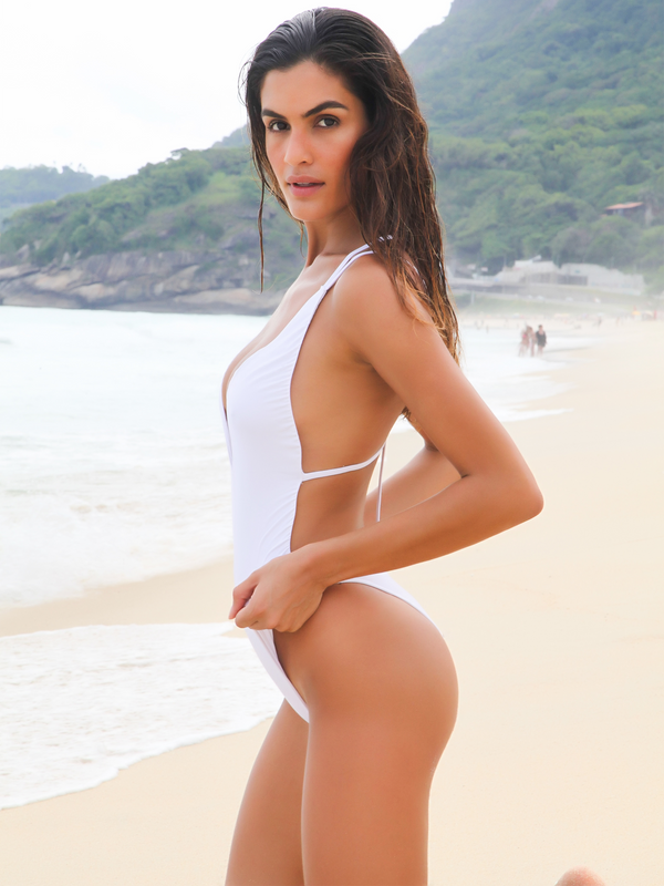 White one piece swimwear with back detail