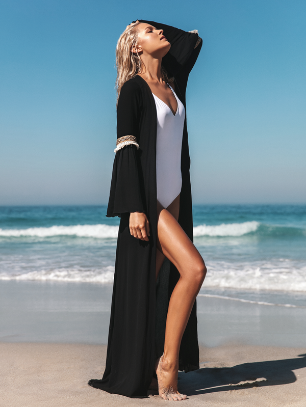 Black Beachwear Kaftan