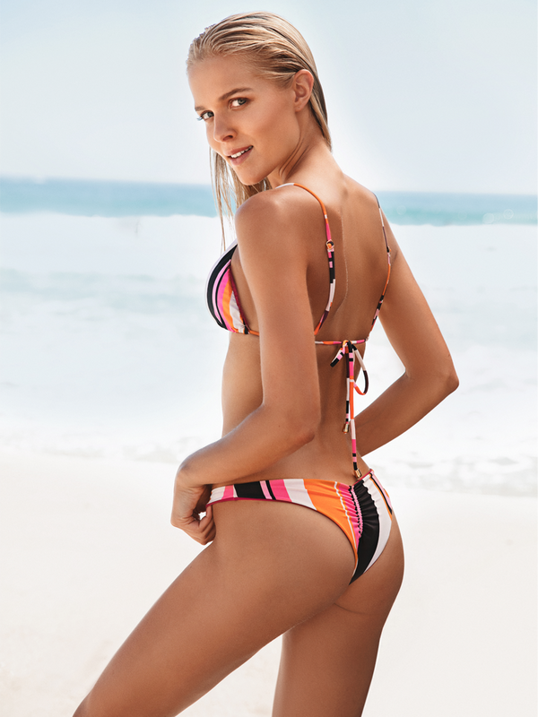 striped print push up bikini bottom