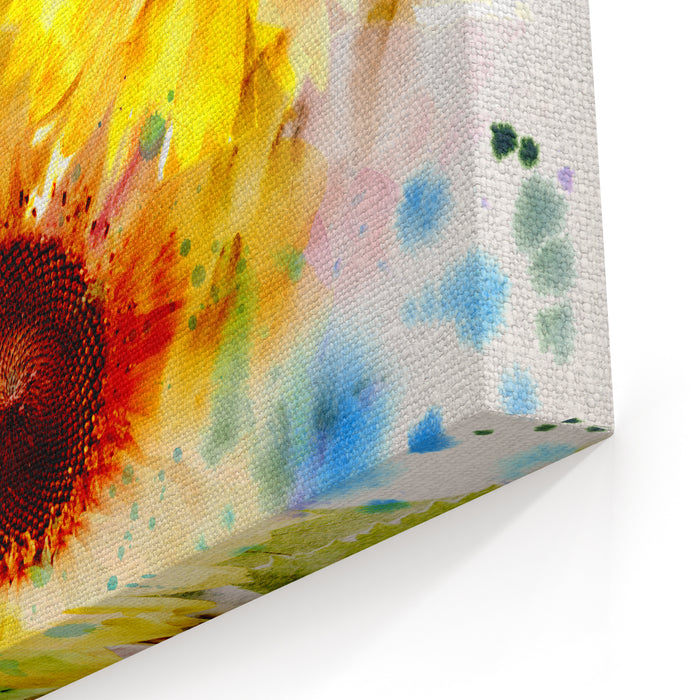 Watercolor Painting Expressive Sunflowers Canvas Wall Art Print