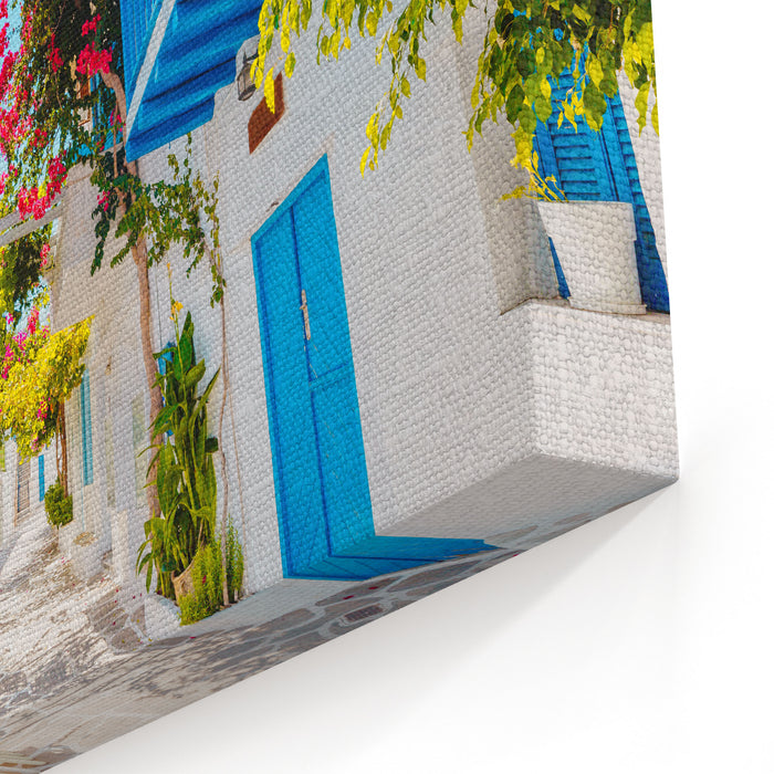 Traditional Greek Street On Paros Island, Greece Canvas Wall Art Print