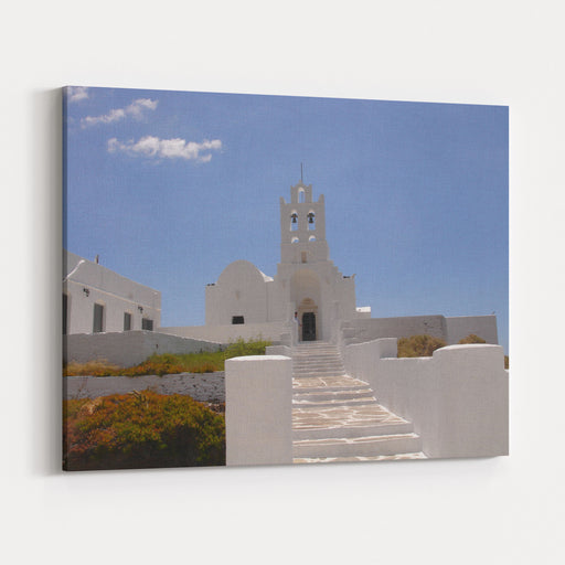 A White Church In Sifnos Island, Greece Christian Orthodox Church Canvas Wall Art Print