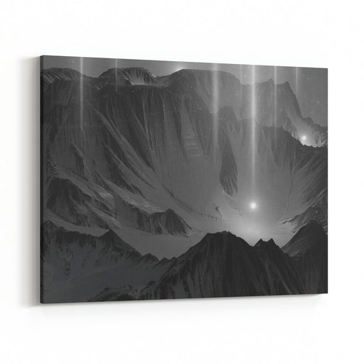 D Rendering Of Scenic Snowy Mountains Landscape At Starfall Night  Abstract Enchanted Dark View In The Moonlight With Shooting Stars Mysterious Scene Middle Of Mystic Magic Deep Rocky Valley Canvas Wall Art Print
