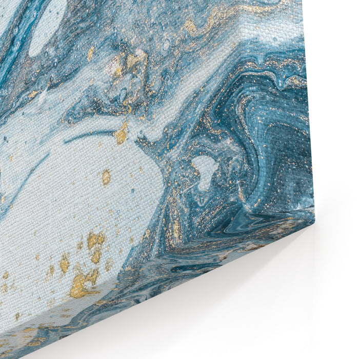 Natural Luxury Marbleized Effect Ancient Oriental Drawing Technique Marble Texture Beautiful Pattern Oriental Art Marbling Background White And Blue Mixed Acrylic Paints Golden Powder Canvas Wall Art Print