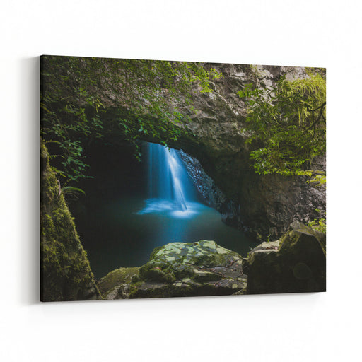 Natural Bridge In Springbrook National Park Scenic Australian Tropical Landscape In Queensland With Beautiful Waterfalls In The Cave Canvas Wall Art Print