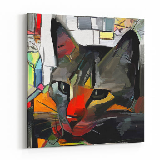 A Cat And Her Face In The Style Of Abstract Art Expressive Brushstrokes Of The Impressionist The Painting Is Executed In Oil On Canvas With Elements Of Pastel Painting Canvas Wall Art Print