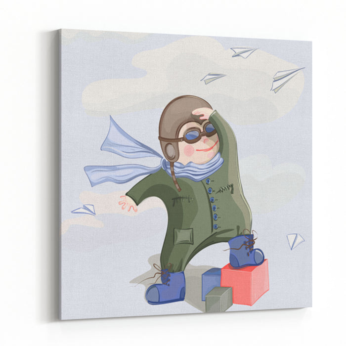 Little Pilot Boy Vector Illustration Of A Little Child Playing With Paper Airplanes No Effects Used Canvas Wall Art Print