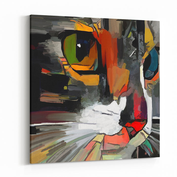Face Cute Cat The Artist Used Rough Brushstrokes In The Style Of Impressionism The Painting Is Executed In Oil On Canvas With Elements Of Pastel Painting Canvas Wall Art Print