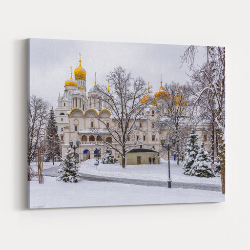 Church Of The Twelve Apostles In Moscow Kremlin In Moscow, Russia Winter Scene Of Moscow Kremlin Architecture And Landmark Of Moscow Canvas Wall Art Print