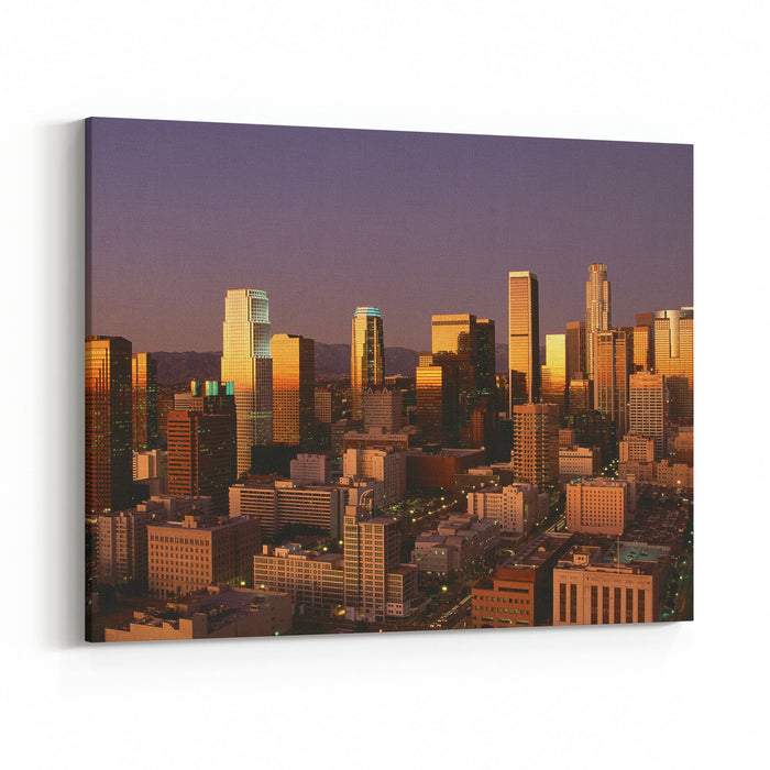 Abstract Image Of Downtown Los Angeles At Sunset, California Canvas Wall Art Print