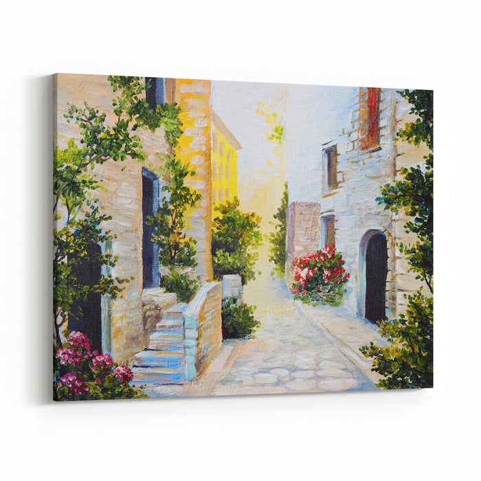 Oil Painting  Italian Street, Colorful Watercolour Canvas Wall Art Print