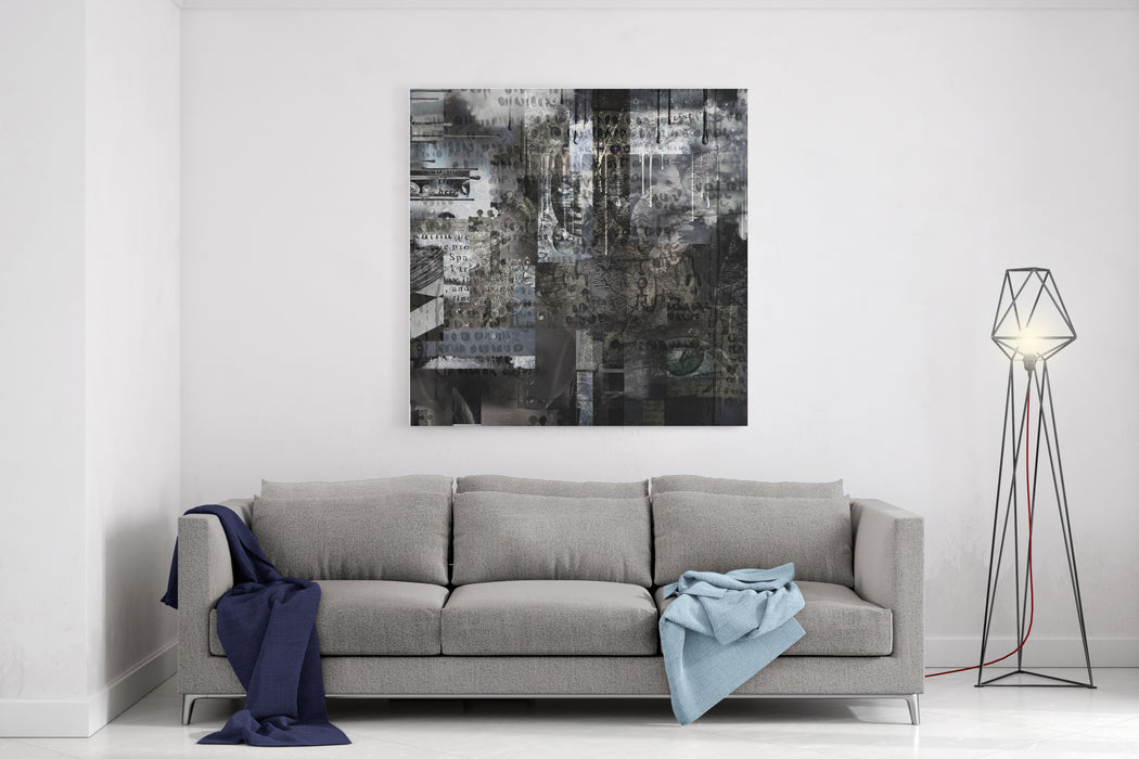 Abstract Painting Masks And Eye Symbols And Text On A Background Drendering Canvas Wall Art Print
