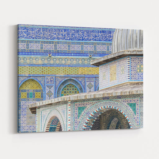 Jerusalem, Israel   Details Of The Dome Of The Rock Mosque And Dome Of The Chain On The Temple Mount In Jerusalem, Israel Canvas Wall Art Print