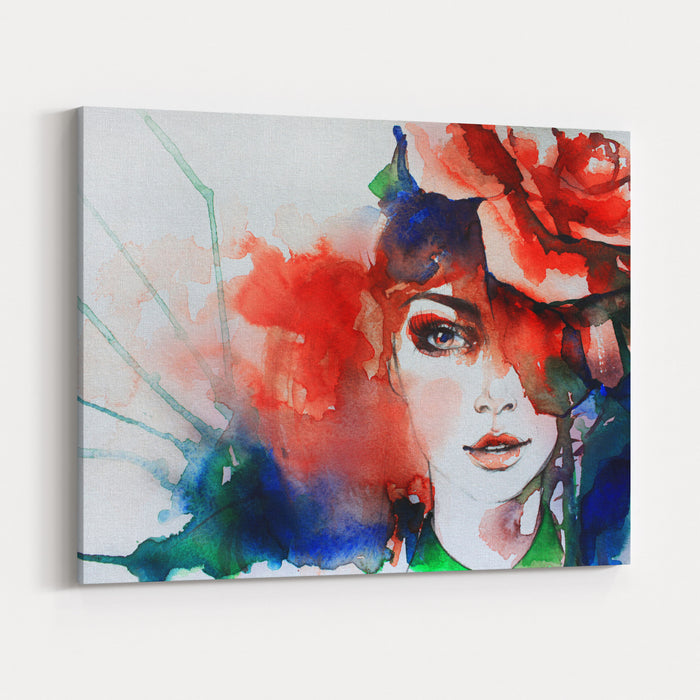 Creative Hand Painted Fashion Illustration Canvas Wall Art Print