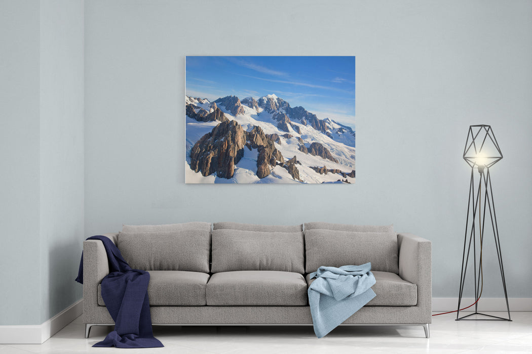 Aerial View Landscape Of Mountain Cook Range With Snow Covered In New Zealand Canvas Wall Art Print