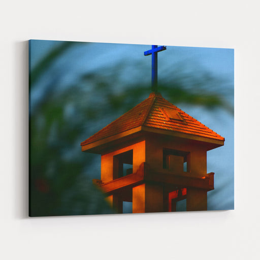 Christian Religious Church Isolated Architectural Building Stock Photograph Canvas Wall Art Print
