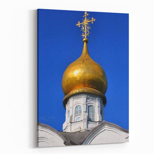 White Orthodox Church With A Golden Dome, Sergiev Posad, Moscow Region, Russia Canvas Wall Art Print