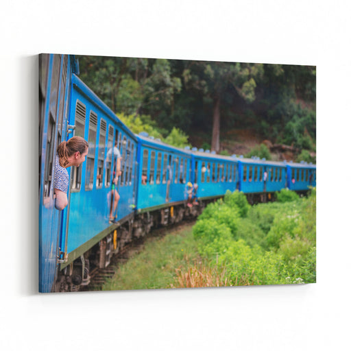 Young Woman Enjoying Train Ride From Ella  To Kandy Among Tea Plantations In The Highlands Of Sri Lanka Canvas Wall Art Print