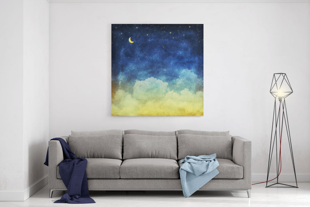 Cloud And Sky At Night ,yellow And Blue Background Canvas Wall Art Print