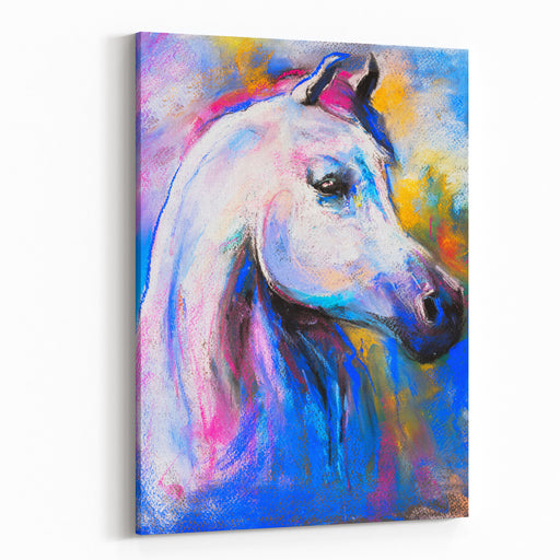 Original Pastel Painting Of A White Horse Modern Art Canvas Wall Art Print