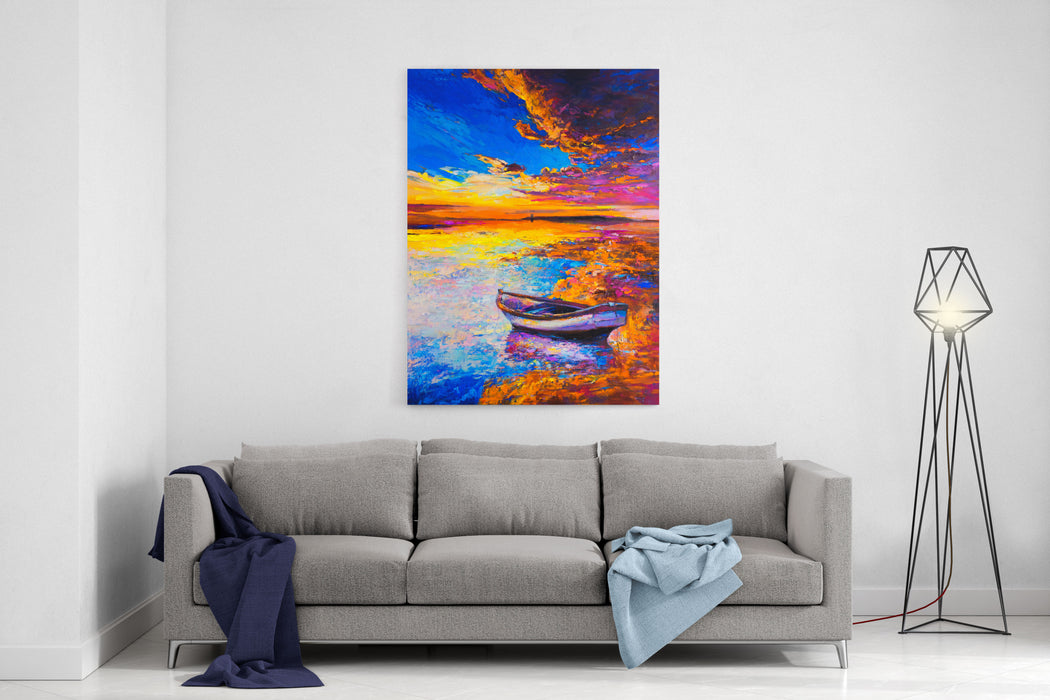 Original Oil Painting Boat On The Water Modern Art Canvas Wall Art Print