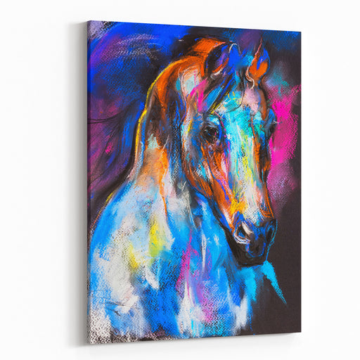 Original Pastel Painting Of A Horse On A Cardboard Modern Art Canvas Wall Art Print