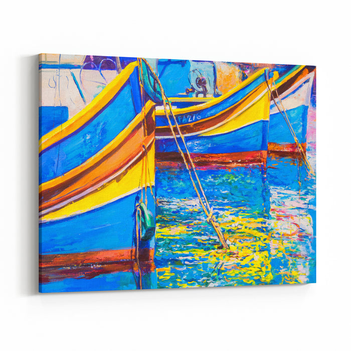 Original Oil Painting On Canvas Boats On The Water Modern Art Canvas Wall Art Print