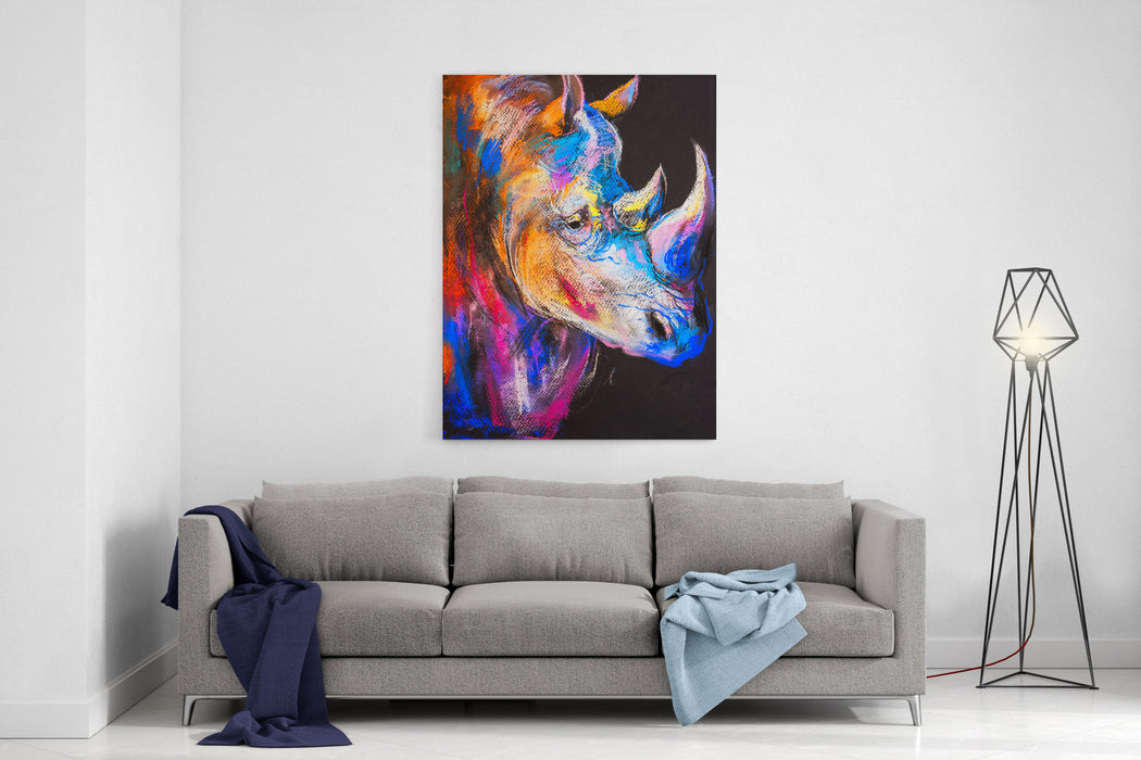 Original Pastel Painting Of A Rhinoceros Modern Art Canvas Wall Art Print