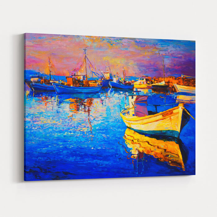 Original Oil Painting Of A Beautiful Boat Modern Art Canvas Wall Art Print
