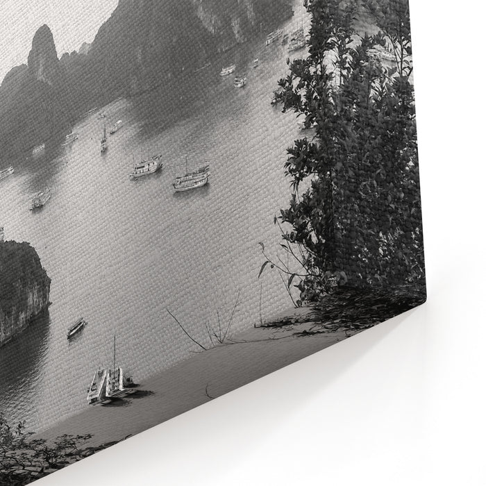 Halong Bay In Vietnam A Nice Black And White Copy Of This Beautiful Bay Canvas Wall Art Print