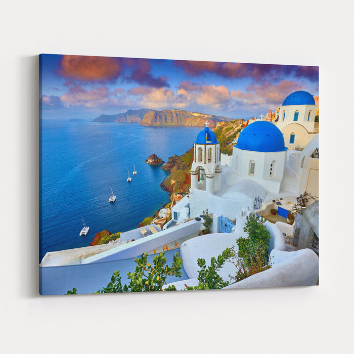 Fira Town On Santorini Island Greece Incredibly Romantic Sunrise Onsantorini Oia Village In The Morning Light Amazing Sunset View With Whitehouses