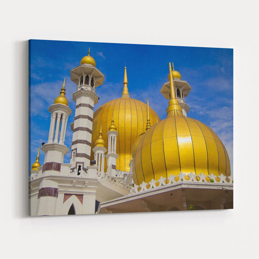 Golden Domes Of Ubudiah Mosque With Blue Sky Background In Kuala Kangsar, Perak, Malaysia Canvas Wall Art Print
