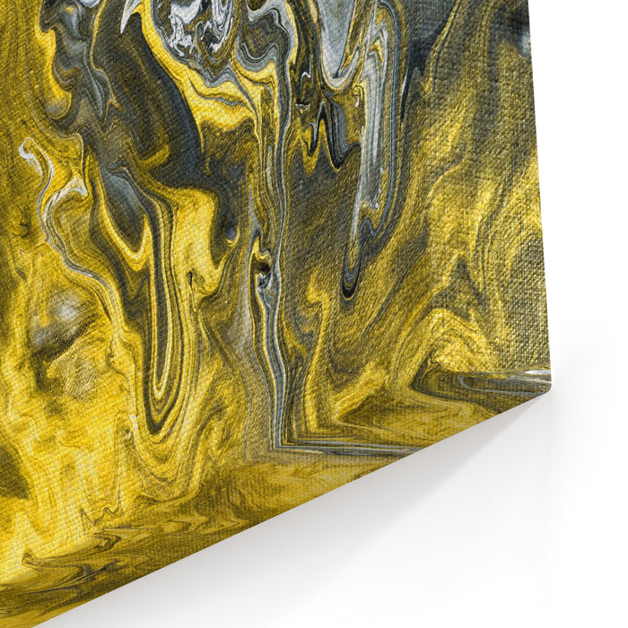 Black And White With Gold Marble Abstract Hand Painted Background, Closeup Of Acrylic Painting On Canvas Contemporary Art Canvas Wall Art Print