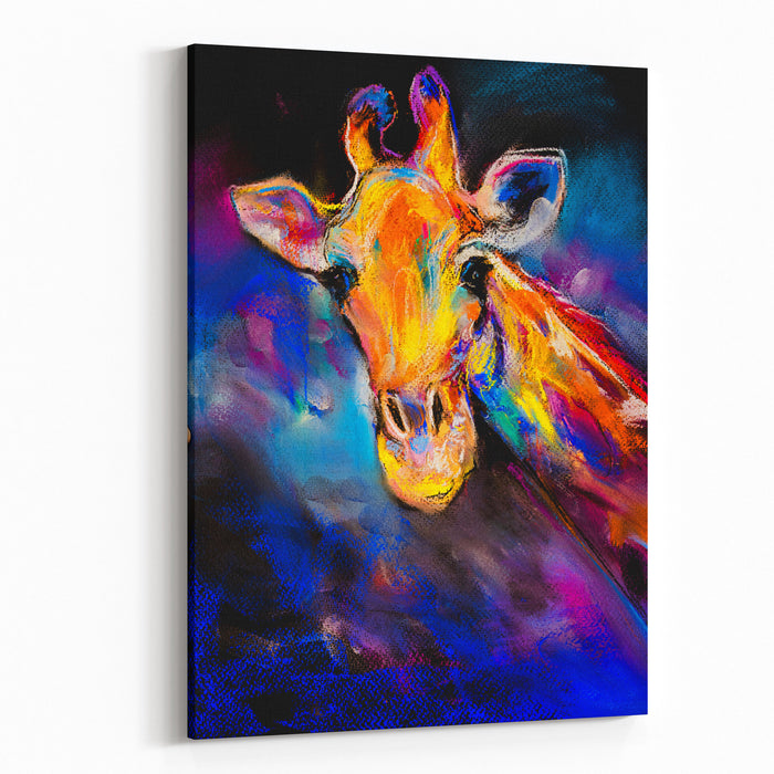Original Pastel Painting Of Giraffe Modern Art Canvas Wall Art Print