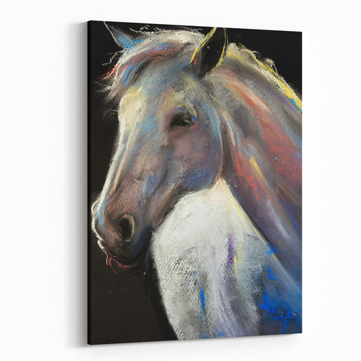 Original Pastel Portrait Of A White Horse  Modern Art Canvas Wall Art Print