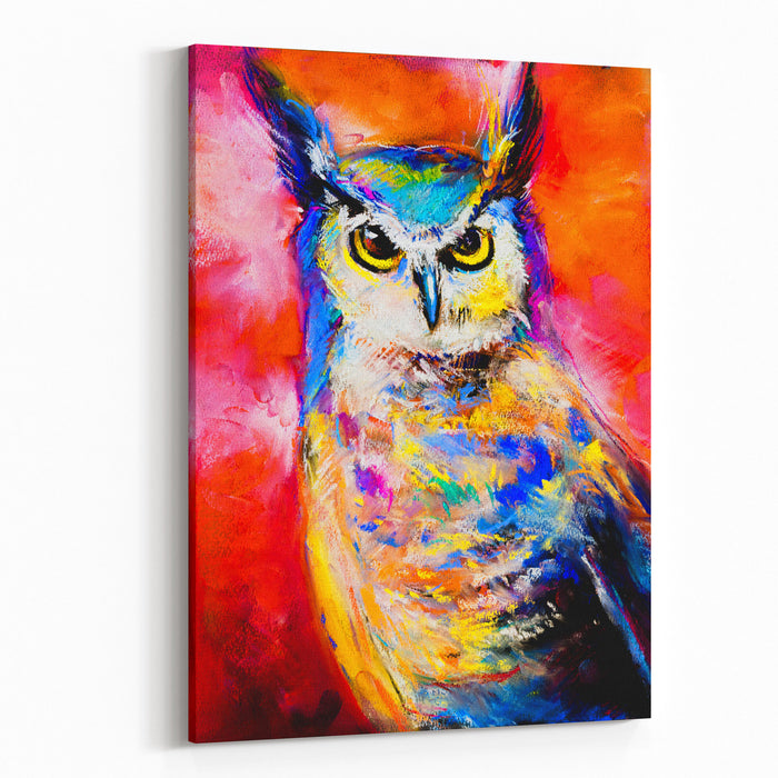 Original Pastel Painting Of An Owl Modern Art Canvas Wall Art Print
