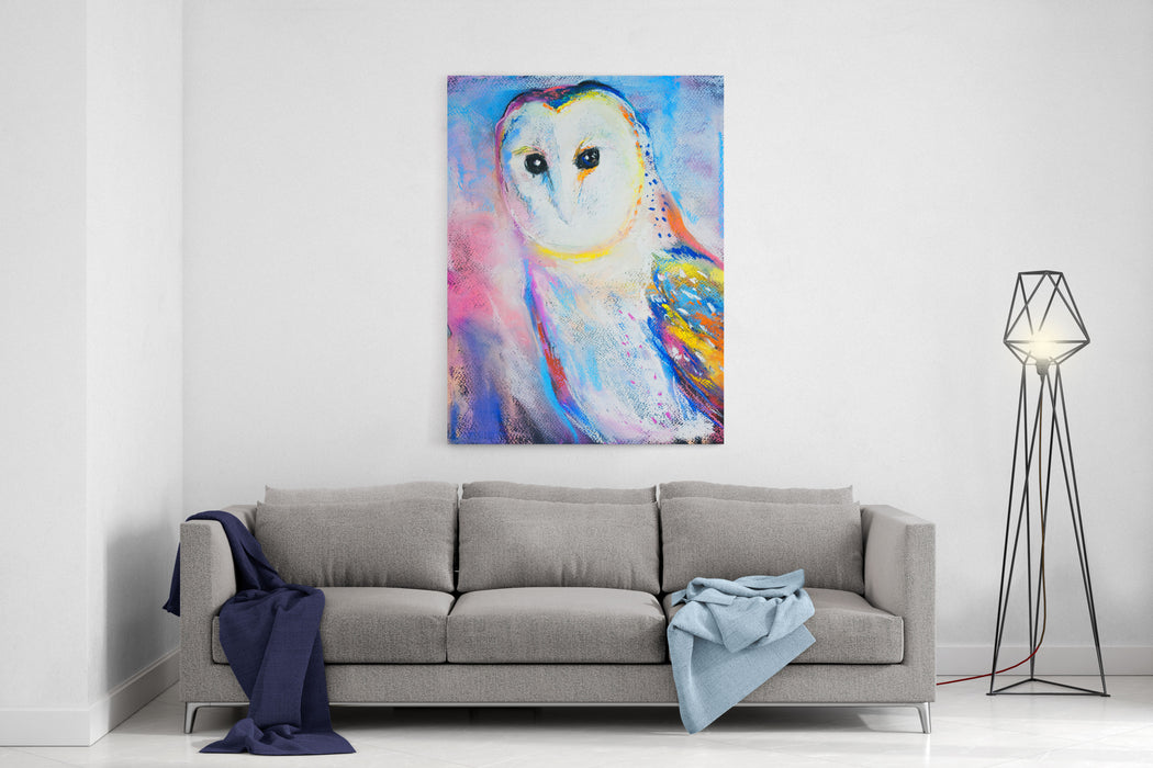 Original Pastel Painting Of A White Owl Modern Art Canvas Wall Art Print