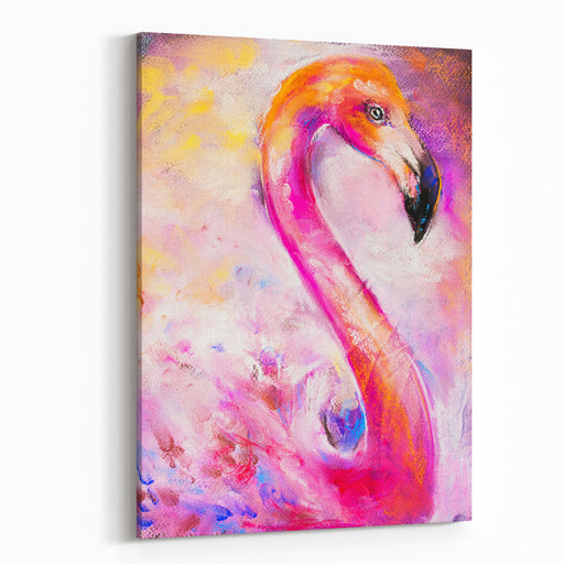 Original Pastel Painting Of Beautiful Flamingo  Modern Art Canvas Wall Art Print