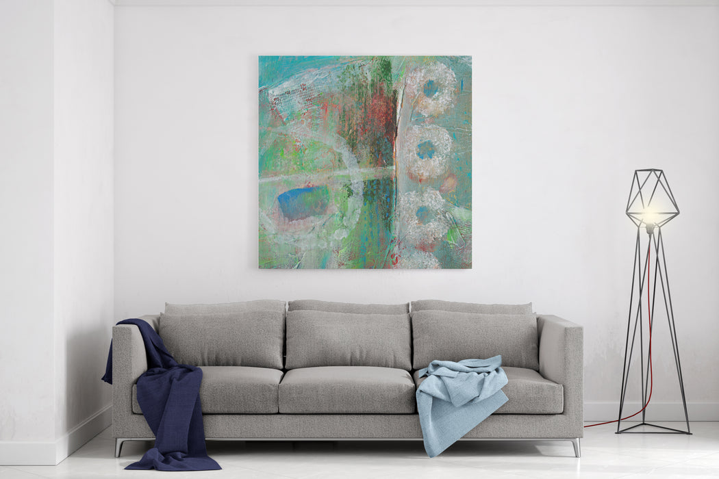 Abstract Grunge Background With Circles And Texture Canvas Wall Art Print