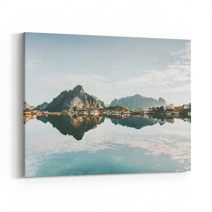 Mirror Reflection At Sea Mountains And Village Norway Landscape Lofoten Islands Travel Scenery Scandinavian Nature Canvas Wall Art Print