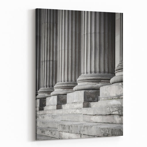 Row Of Columns In Black And White Canvas Wall Art Print
