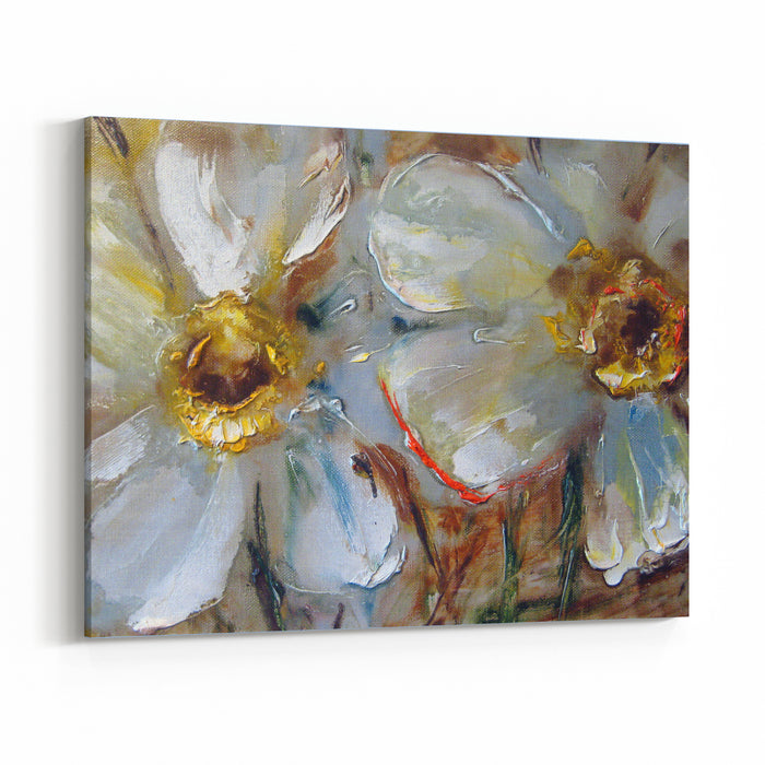 Daffodils, Pale Yellow Delicate Flowers, Oil On Canvas, Painting, Pictorial Art Canvas Wall Art Print