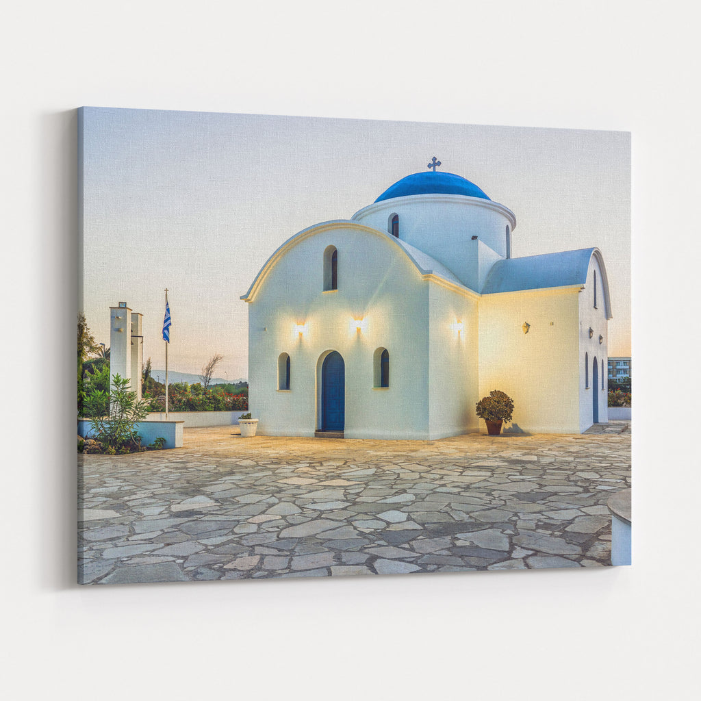The Multi Denominational Church Of St Nicholas On A Shore Closeup InPaphos,  Cyprus Canvas Wall Art Print