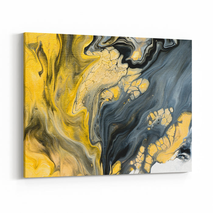 Abstract Hand Painted Black And White With Gold Background, Closeup Of Acrylic Painting On Canvas, Wallpaper, Texture Canvas Wall Art Print