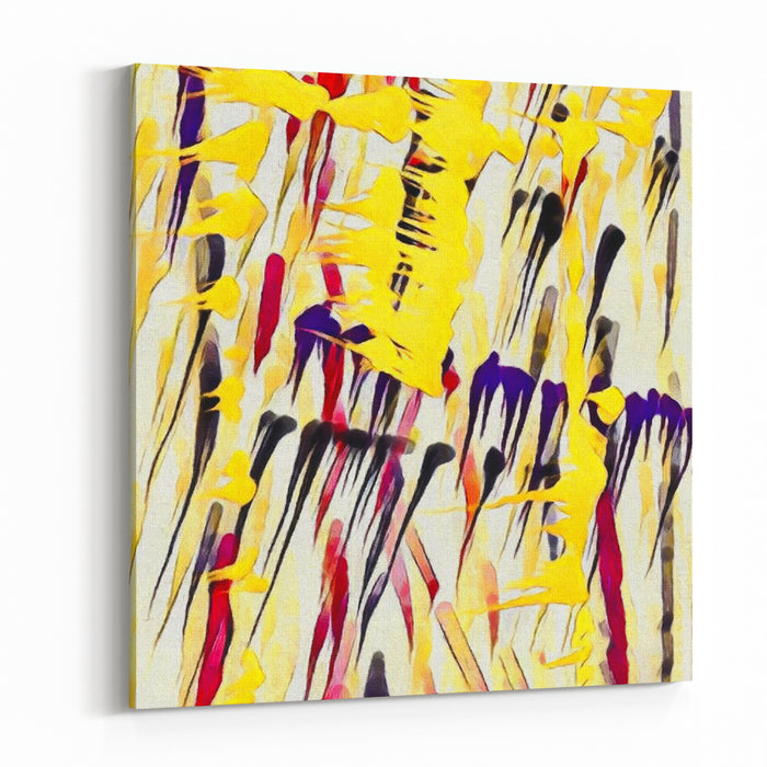 Abstract Painting Paint Drops And Brush Strokes D Rendering Canvas Wall Art Print