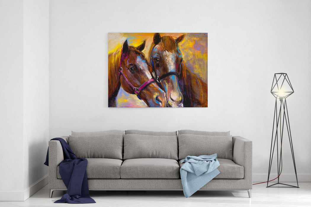 Original Pastel Painting On A Cardboard Of A Horses Modern Art Canvas Wall Art Print