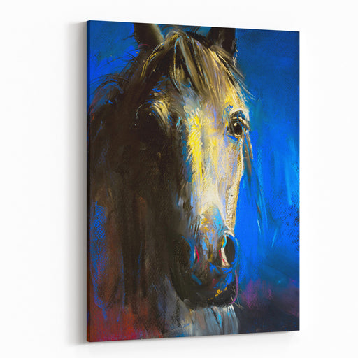 Original Pastel Painting On A Cardboard Of A Horse Modern Art Canvas Wall Art Print