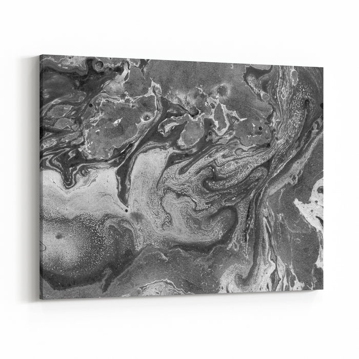 Black And White Oil Painting Abstraction Marble Texture Creative Artwork Grunge Background For Posters, Cards, Invitations, Wallpapers, Websites Fluid Paints Canvas Wall Art Print