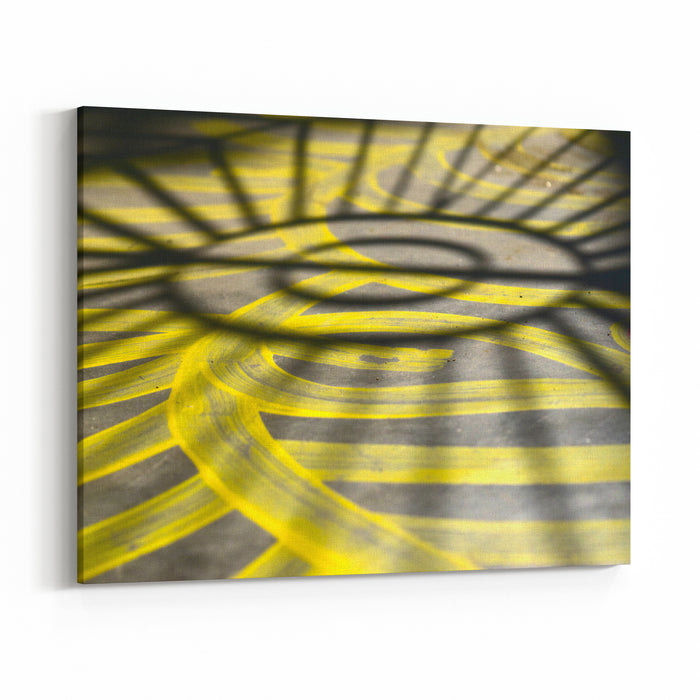 Yellow Painted Colours With Black Shadows Unique Abstract Background Photo Canvas Wall Art Print